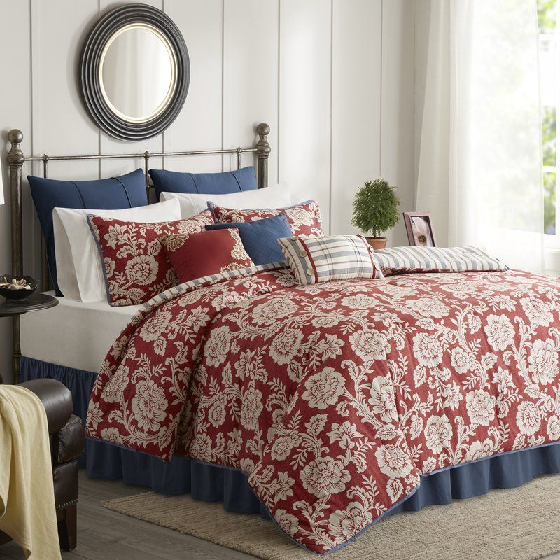 Riviera Home Collection Piumoni.Dolton Reversible Comforter Set Comforter Sets Red Comforter Duvet Cover Sets