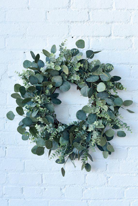 Frühlingskranz, Sommerkranz, gemischter Eukalyptuskranz, Grünkranz, Alltagskranz, Bauernhaus ... #adventskranzideenkinder