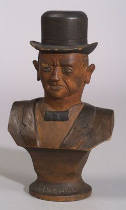 5754b58e6cafe Folk Art Carved Wooden Bust of Winston Churchill