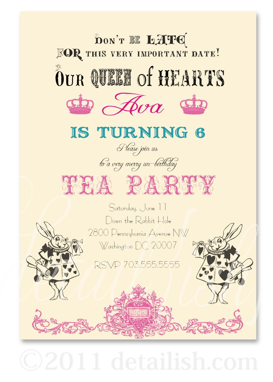 14 Alice in Wonderland White Rabbit Mad Hatter Inspired Tea Party ...