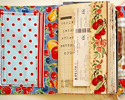 I like very much the use of fabric in journals.