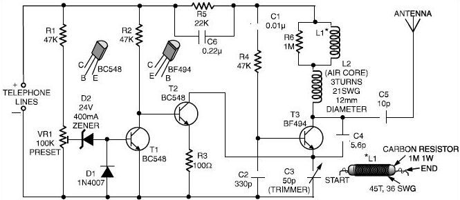 1ba6dae636ede12b6856ad6dd7e635bb phone spy transmitter circuit diagram circuits pinterest the sound powered telephone wiring diagram at gsmx.co