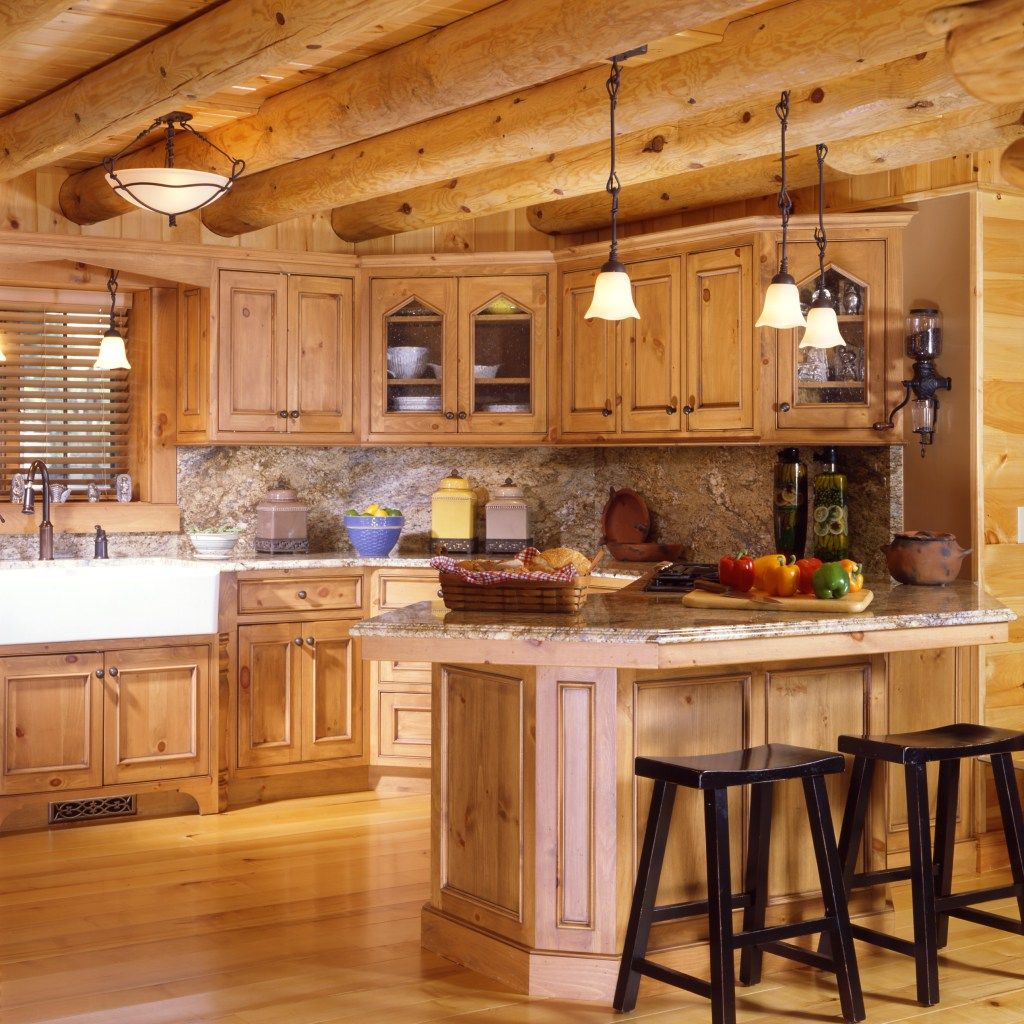 American style kitchen and living room - Kitchen Log Cabin Interior Design Enchanting Home Cool Ideas Sumptuous American Style Cabin Designs Interior Interior