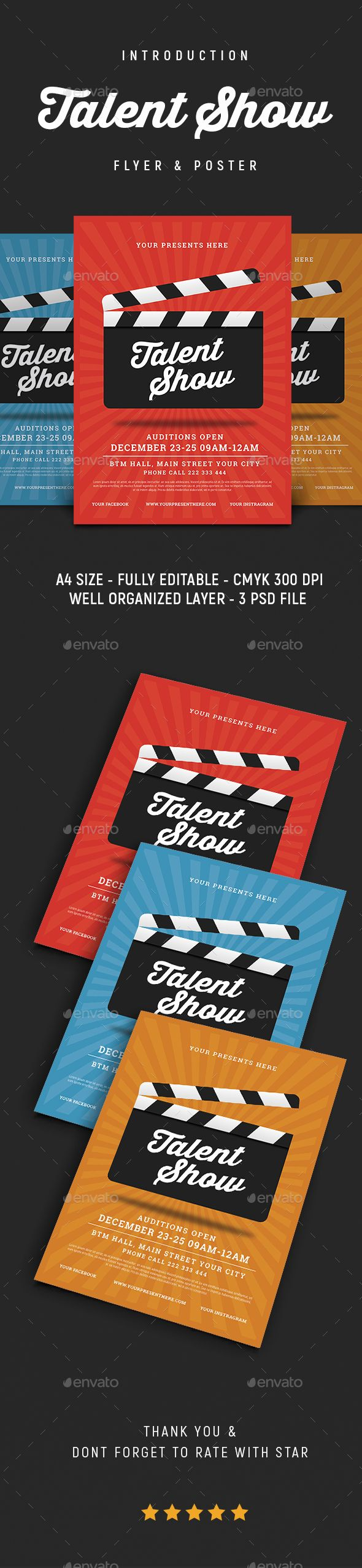 Talent Show Flyer Photoshop Psd Film Movie Night Available