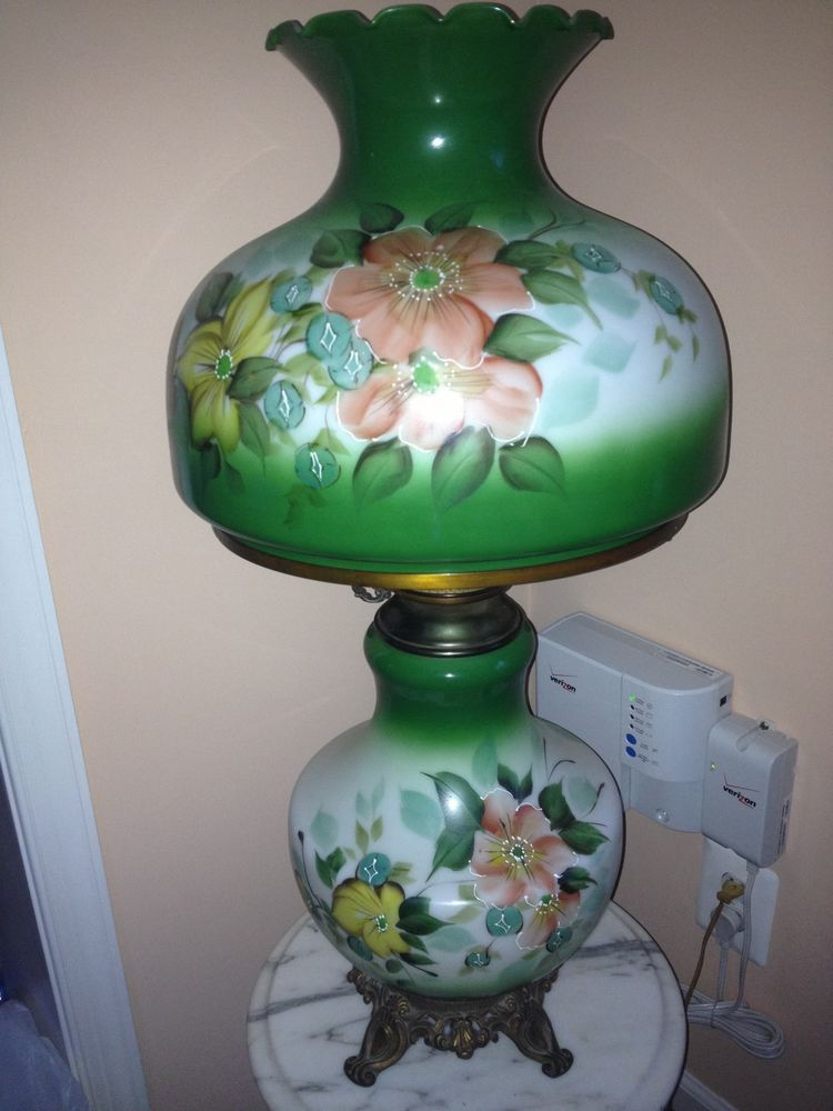 Antique Lamp Globes >> Hurricane Lamp Electric Antique Victorian Style Painted Glass Globes