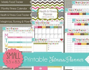 "Large {Printable} Health and Fitness Planner Set - Sized 8.5 x 11"" PDF -  Large Printable Health and..."