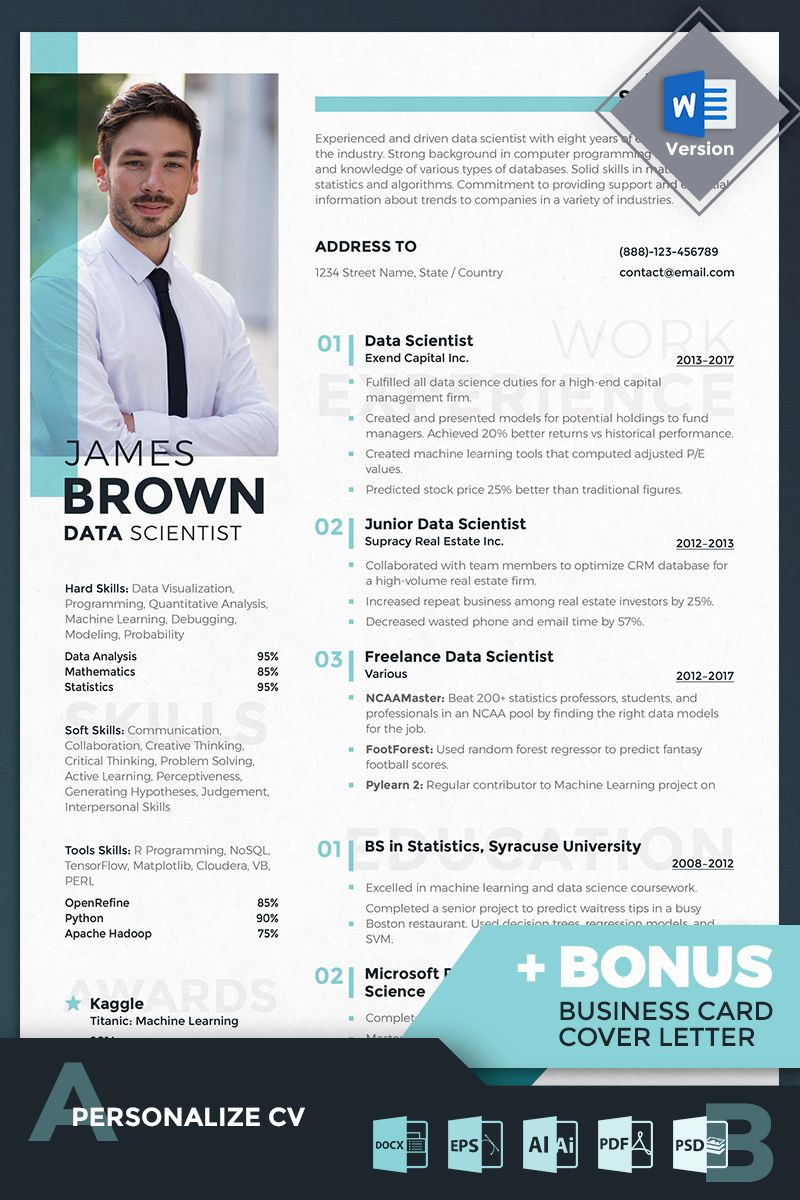 A entry level data scientist resume example in google docs and word docs format that you can download, plus insights from recruiters. James Brown Data Scientist Resume Template 69713 Ad Data Scientist James Brown Student Resume Template Job Resume Template Resume Template