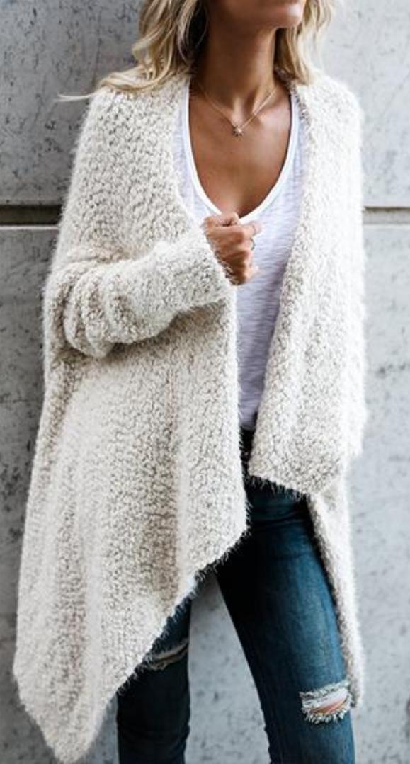 White Fuzzy Knit Batwing Cardigan Cape | coatigans | Pinterest | Tejido
