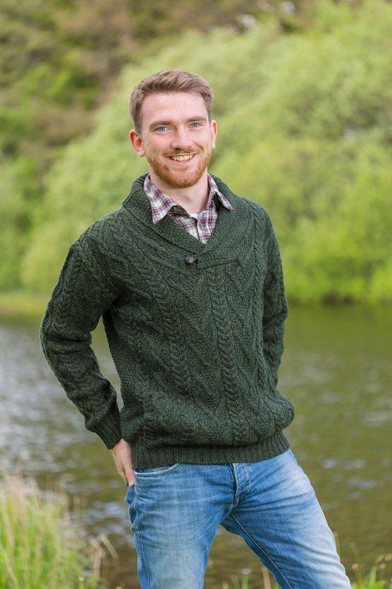 Irish Shawl Collar Sweater Forest Green (SH4177) Shawl