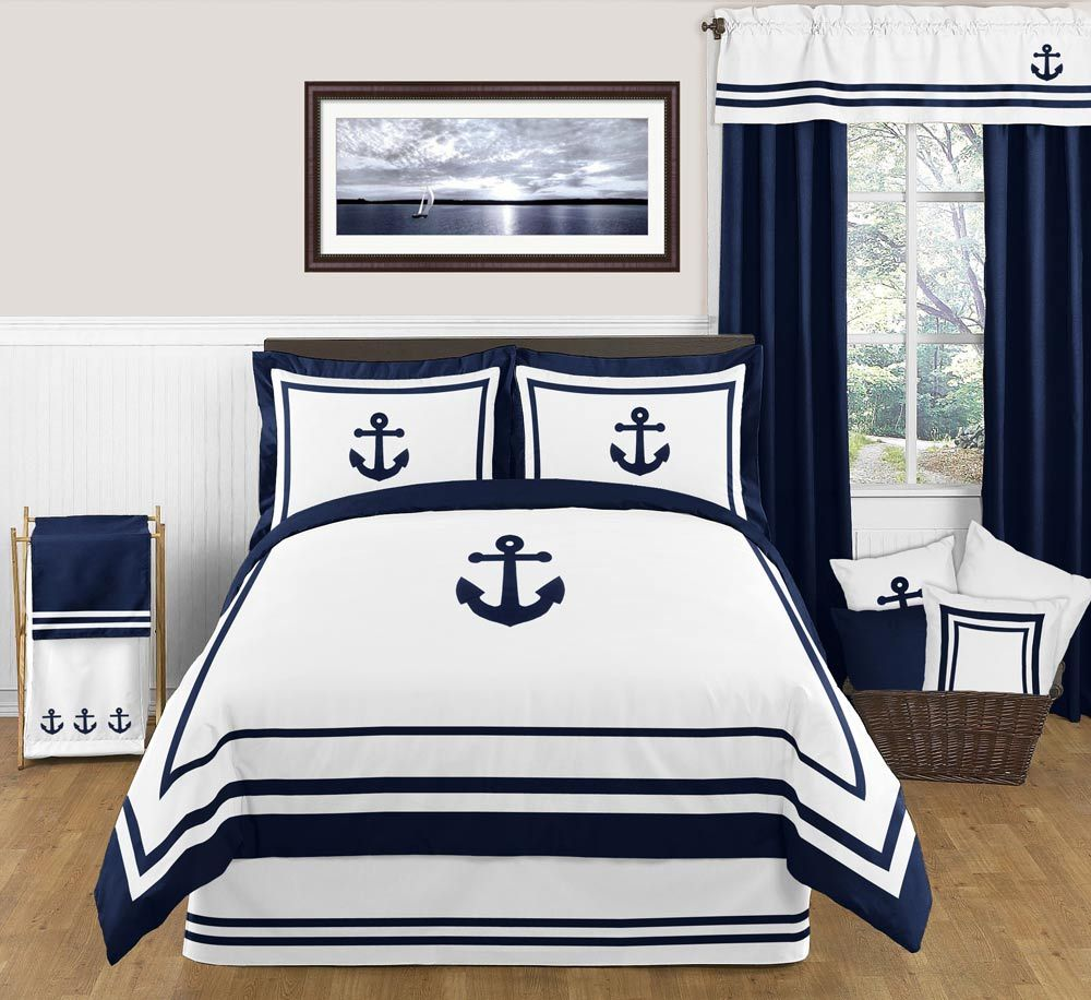 bedding ensemble duvet cover and shams nautical anchor | beach