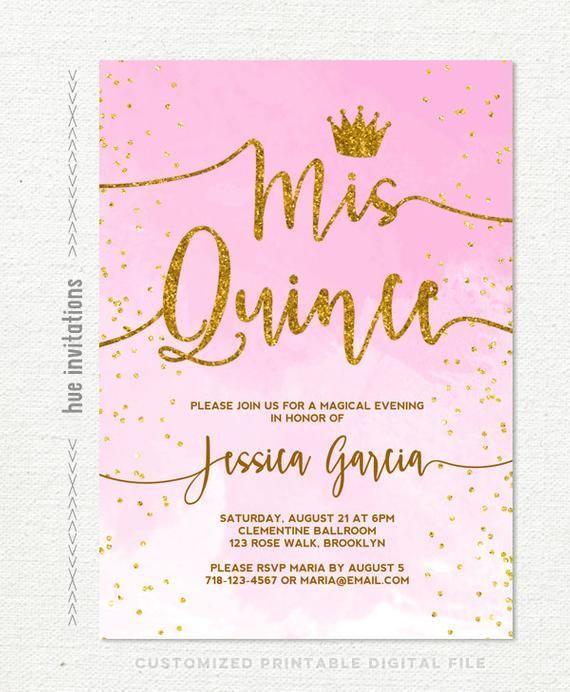 Quinceanera Invitation Pink Watercolor Gold Glitter Confetti Crown Sweet 15th Birthday Quince Invi