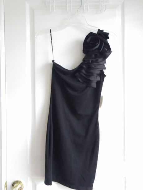 Available @ TrendTrunk.com Brand New Fabulour Black One-shoulder Little Black Dress w/Rosette details. By Forever XXI. Only $29!