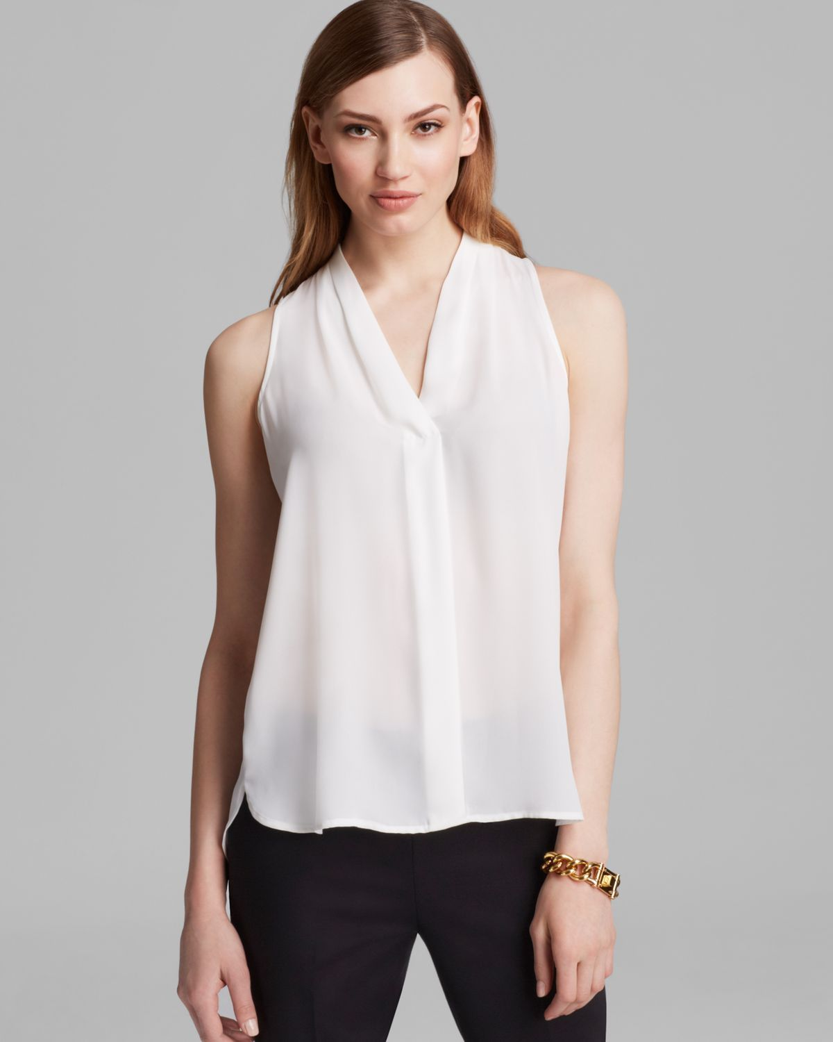 Women's White Sleeveless V Neck Blouse | Vince camuto