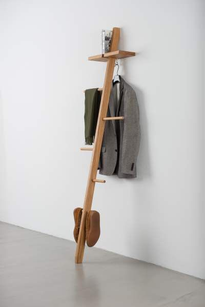 the tb 5 is our super minimal yet secretly functional valet stand here we offer this piece in oak with a golden oil finish or with a white or
