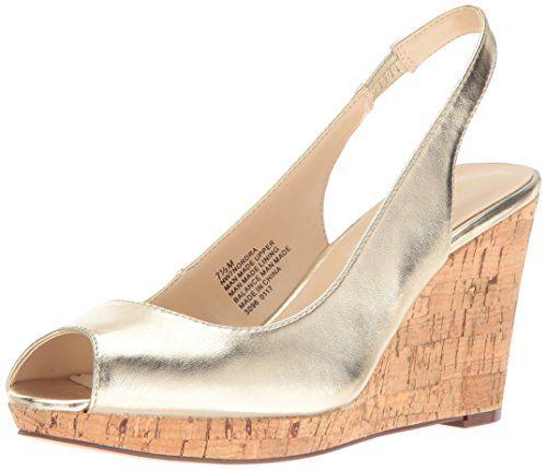 Trending Sandals Nine West Women's Nordra Patent Wedge Sandal, Light Gold,  8.