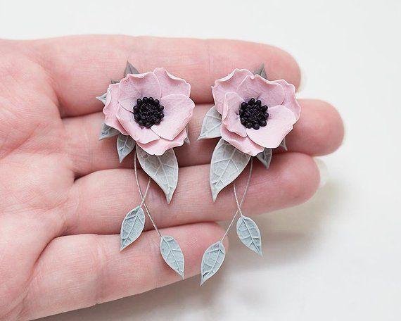 New Pink Anemone Earrings Dusty Pink Flower Earrings Poppy Polymer Clay Flower Jewelry Polymer Clay Jewelry Clay Jewelry