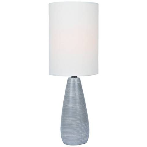 Quatro 17 H Gray Modern Accent Table Lamp With White Shade 12f28 Lamps Plus Table Lamp Lamp Modern Accent Tables