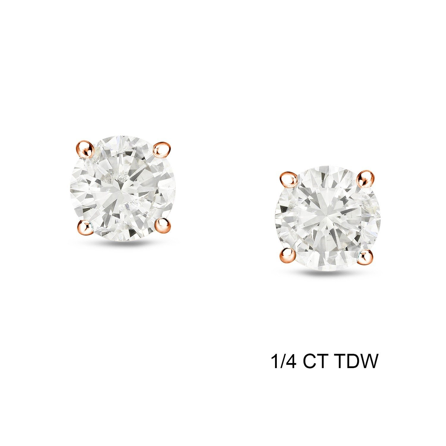 Auriya 1 4 To 3 4ctw Round Diamond Stud Earrings 14k Rose Gold Beautiful Earrings Stud Earrings Round Diamonds