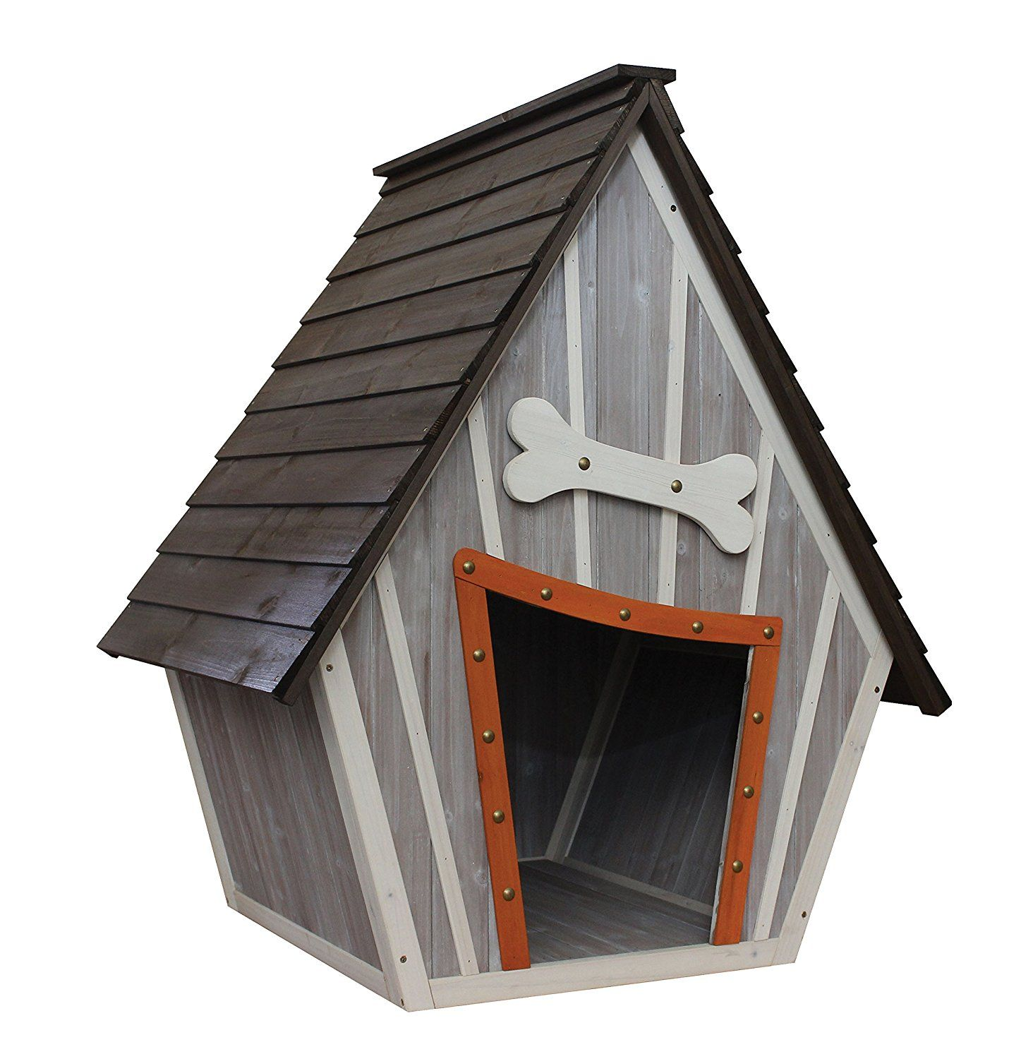 Who wouldn t want a cartoony looking dog house Solid wood