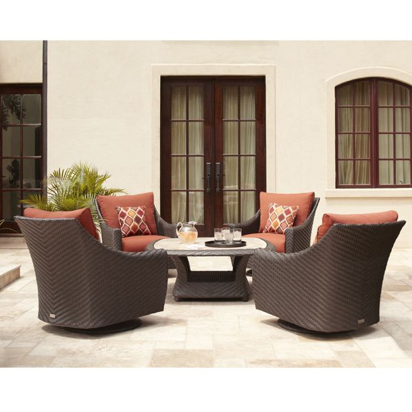 Highland Collection Motion Lounge Chairs And Chat Table Brown