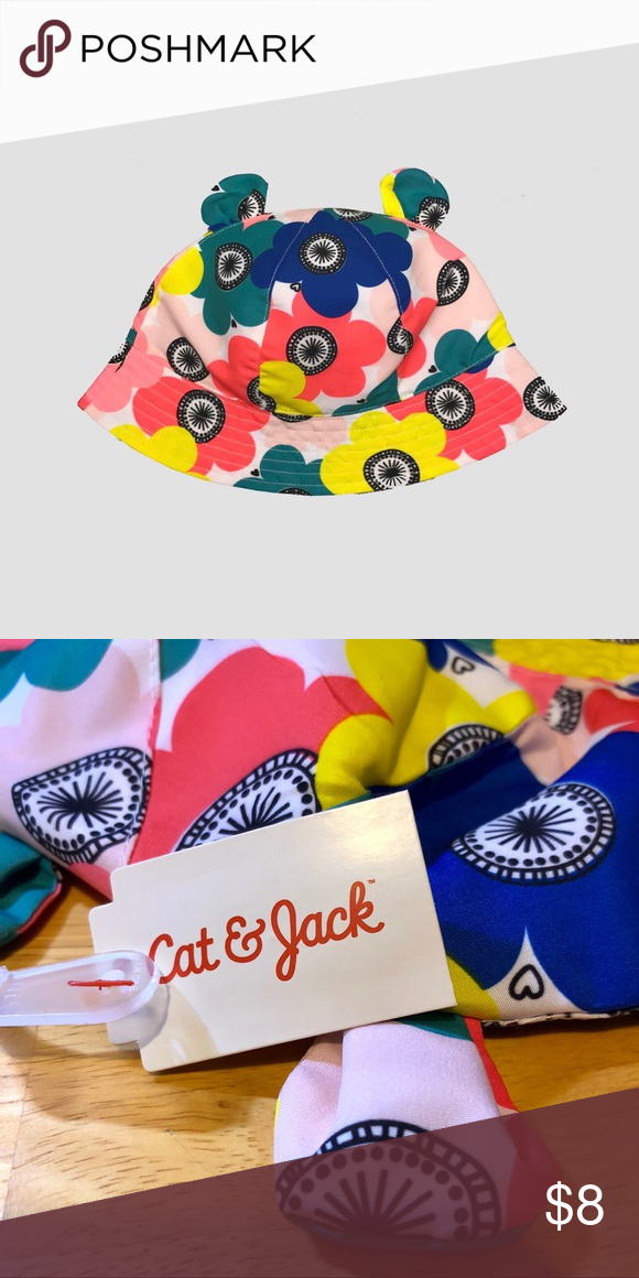 65a43194b0420 Cat   Jack Flower Sun Hat w  Ears 2T-5T This adorable brightly colored sun  hat with cute little ears will make any little one giggle.