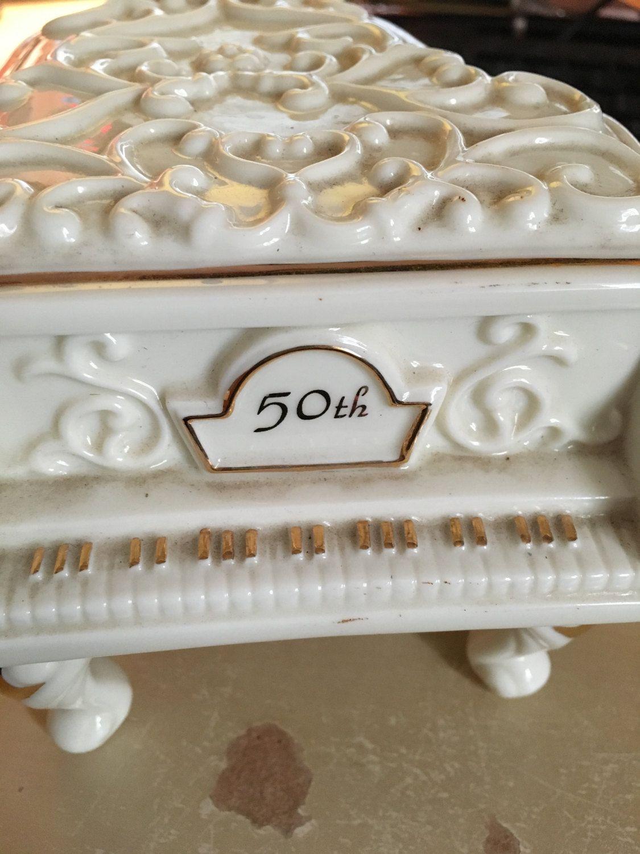 50th Anniversary ceramic piano music box, anniversary waltz music box, anniversary gift, music box, vintage anniversary music box Enescot by FlowerChildTrends on Etsy