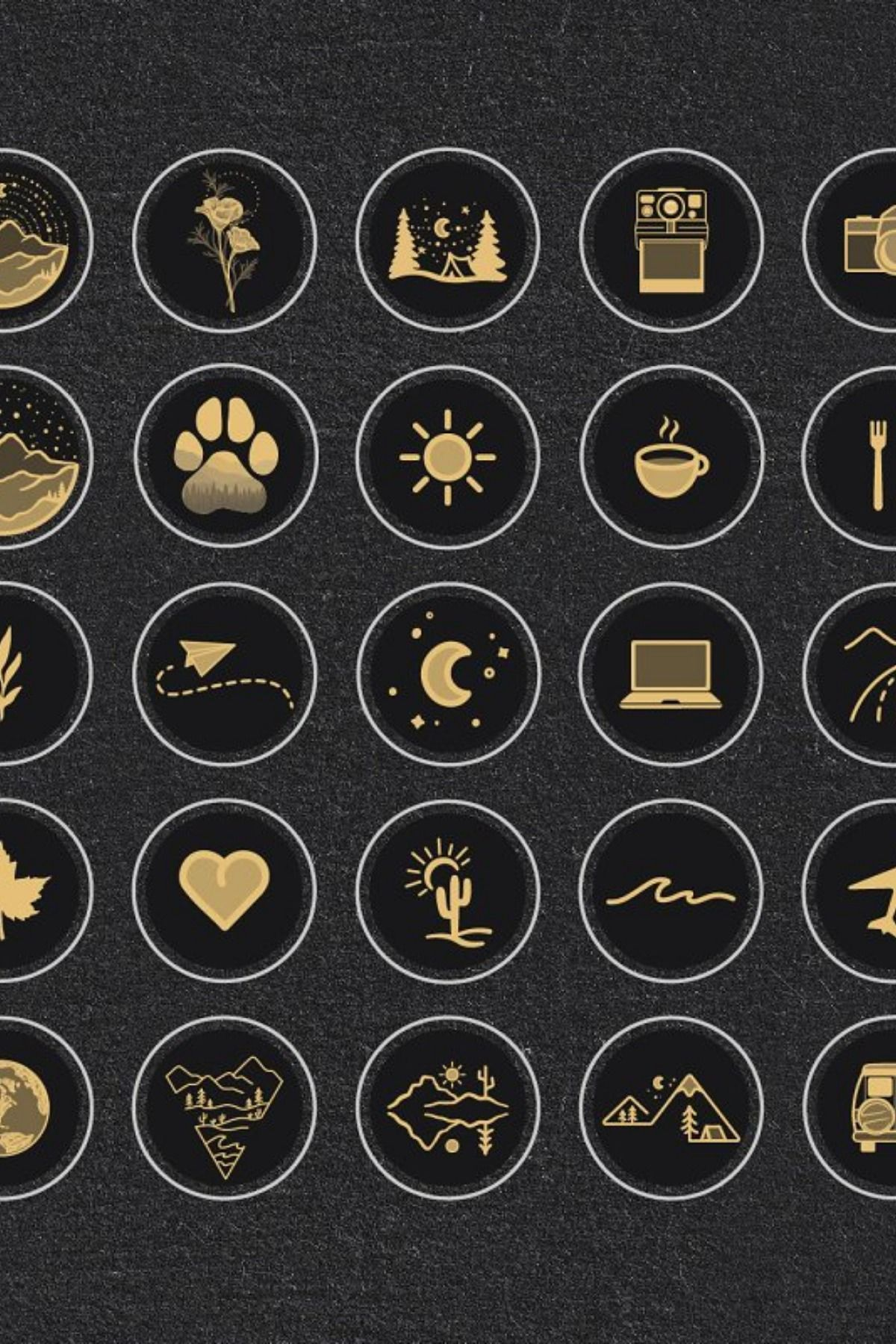 Black & Gold Travel Highlight Icons Ideias instagram