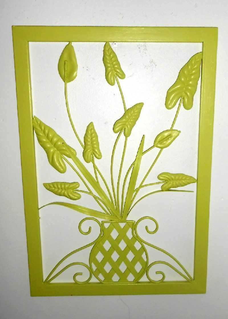 Large Metal, Wall Decor, Vintage, Upcycled, Chartreuse, Hand Painted ...