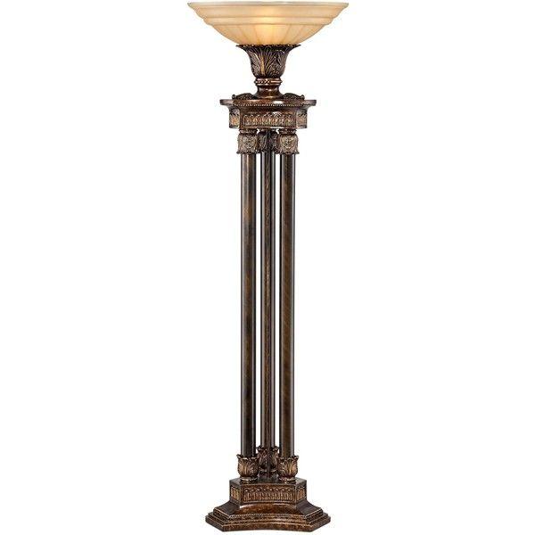 Kathy ireland la grande torchiere floor lamp 935 aud ❤ liked on polyvore featuring home lighting floor lamps column floor lamp pillar lights