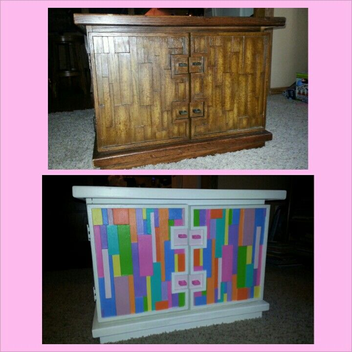 Freshened up an old end table with some paint and made it fun for my daughter's bedroom ;)