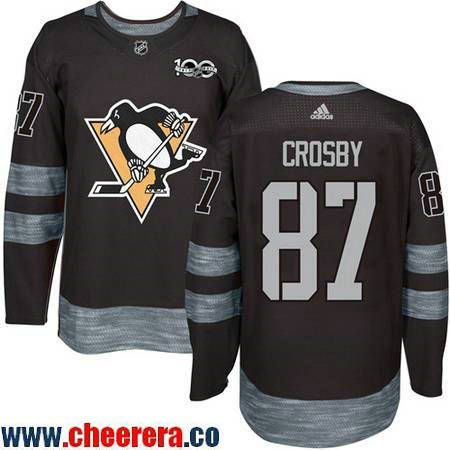 Men's Pittsburgh Penguins #87 Sidney Crosby Black 100th Anniversary  Stitched NHL 2017 adidas Hockey Jersey