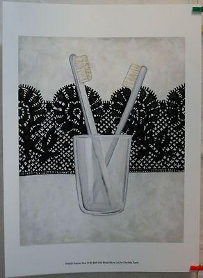 $14.50 Bathroom Toothbrush Art Print, Femme Noir IV by Chariklia Zarris