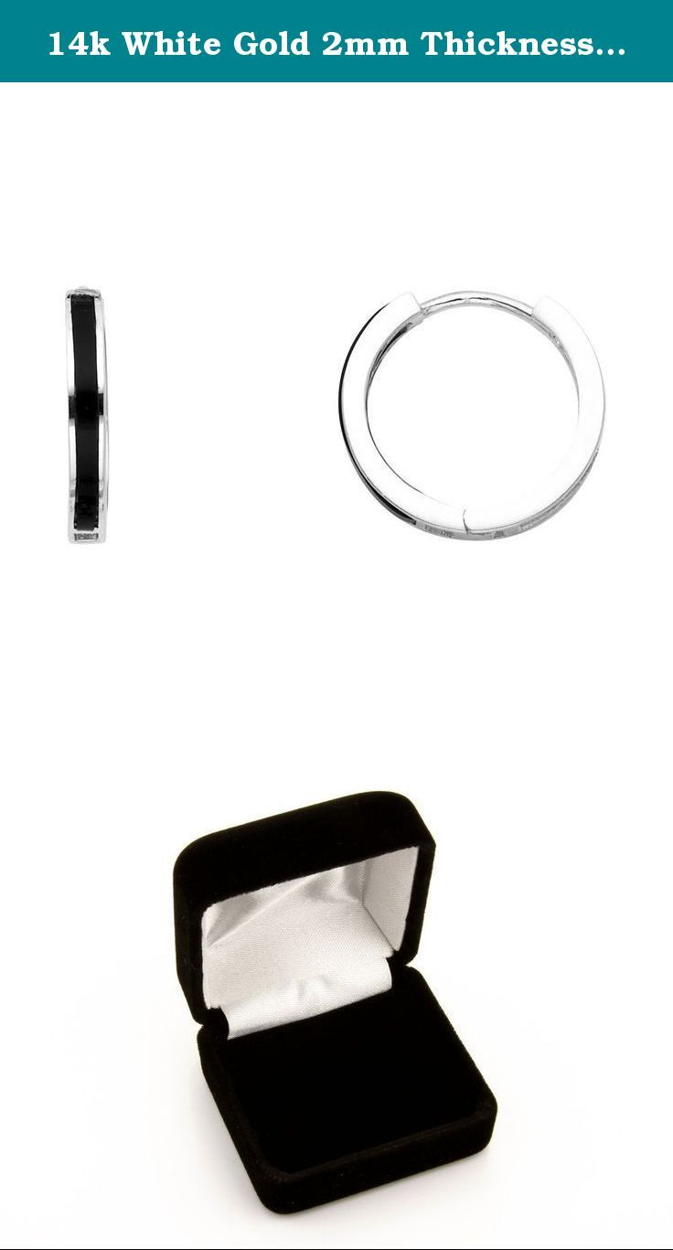 14k White Gold 2mm Thickness Onyx Huggie Hoop Earrings (15mm Diameter). Light up any occasion with these Beautiful 14K Gold Earrings. These earrings are finished to give off more shine and luster by reflecting surrounding light. Combined with high polished gold, this set is a guaranteed hit at any event. Comfort, class, and practical are words to describe these earrings. Order this today or browse our incredible selection of affordable fine gold jewelry.
