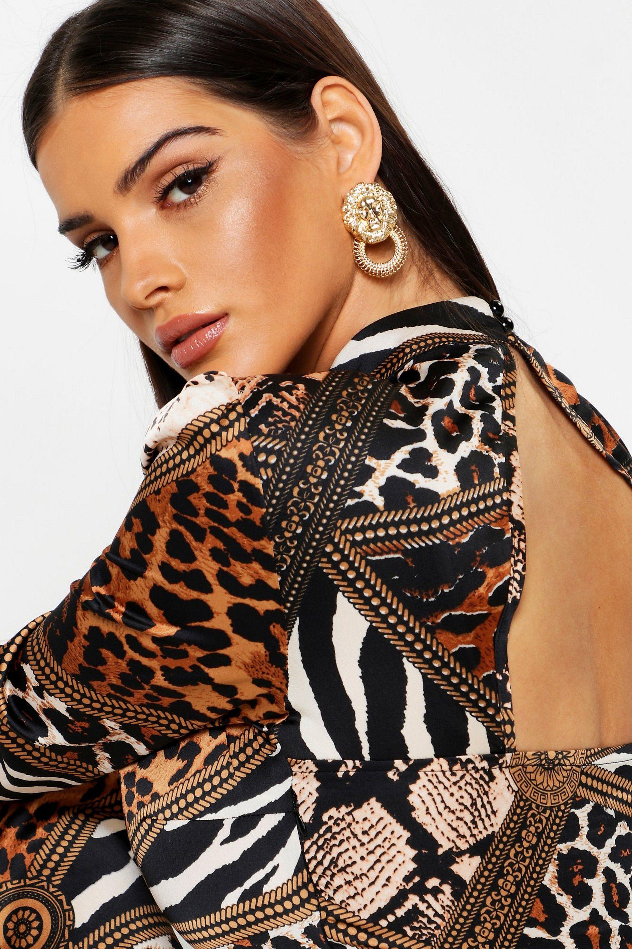 Mixed Animal Print Keyhole Back Midi Dress Boohoo Bodycon Fashion Midi Dress African Dress