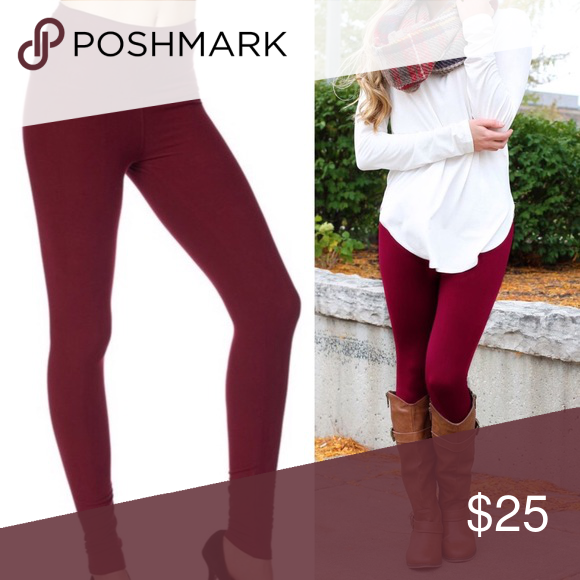 f42962375a6e8 FLEECE LINED❄ burgundy dark red maroon leggings Suuuper soft polyester  spandex blend lined with super warm fleece! One size stretches to fit most.