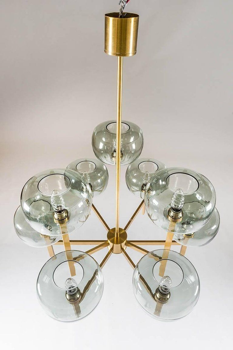 Five swedish chandeliers in brass and glass by holger johansson 4 five swedish chandeliers in brass and glass by holger johansson arubaitofo Image collections