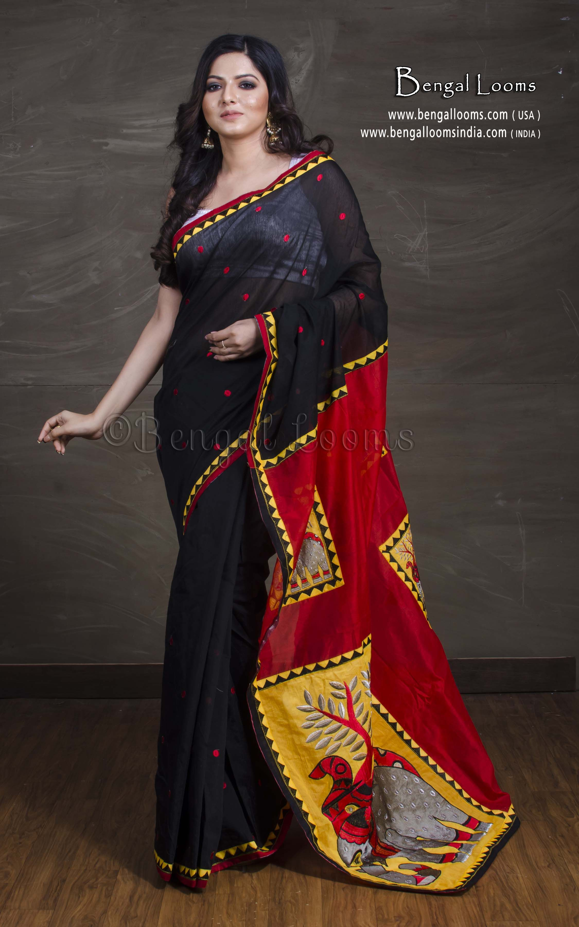 ab3b47f5254 Embroidery and Applic Work Chanderi Cotton Saree in Black and Red Website   - www.bengallooms.com