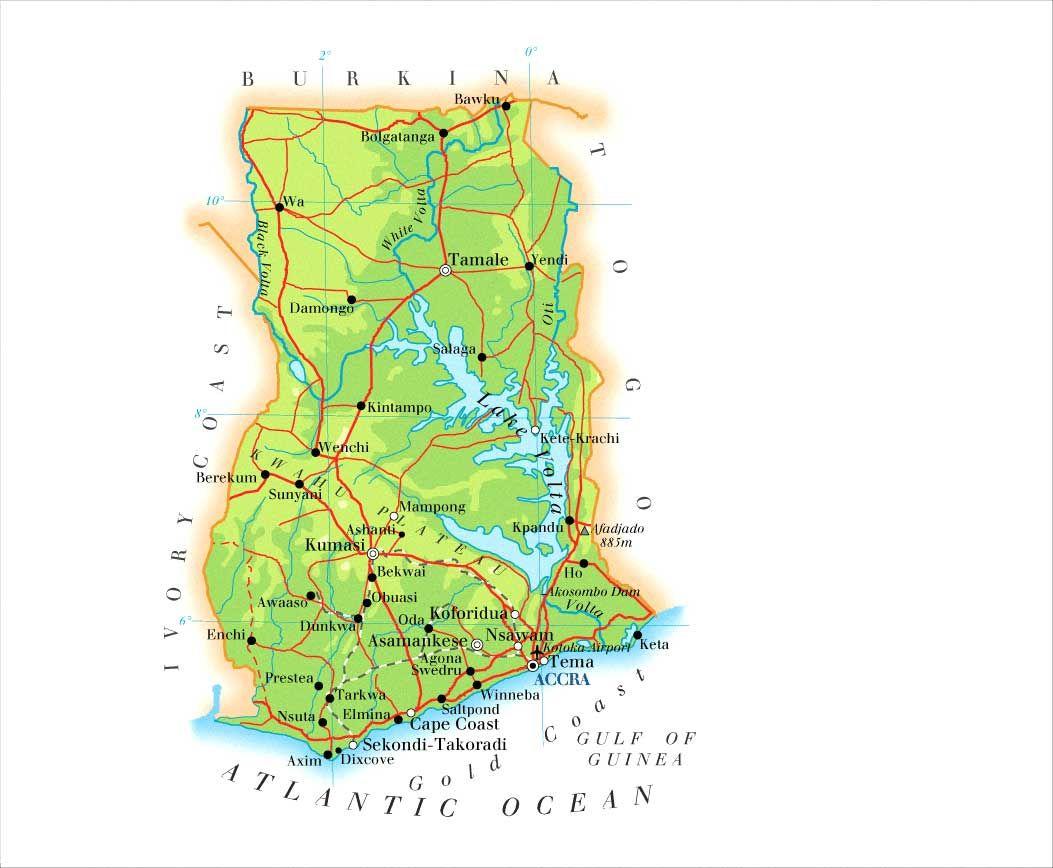 ghana karta ghana from accra to cape coast to kumasi to tamale to bolgatanga  ghana karta
