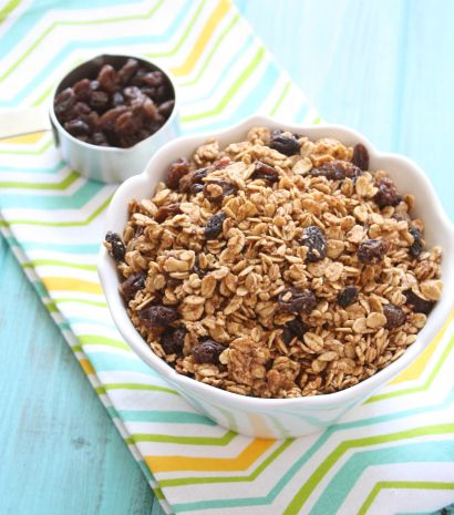Cinnamon Raisin Granola. Really good! Used melted coconut oil, added almonds and a little brown sugar. Mmm