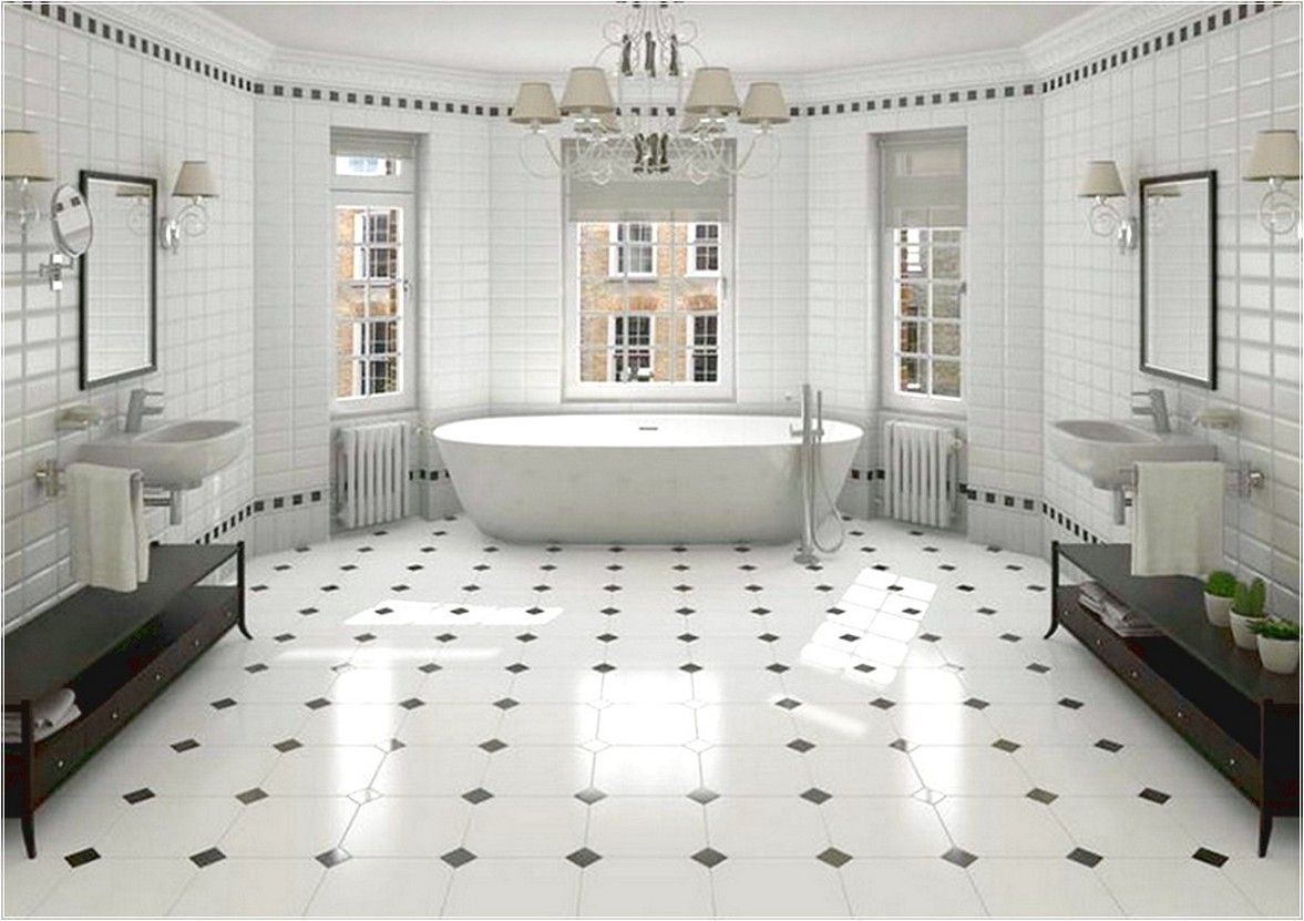 Black and White Bathroom floor Tiles [I would like this w cobalt ...