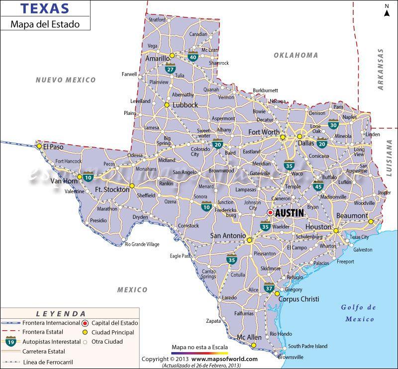 El Mapa Del Estado De Texas Estados Unidos De America - Mapa de texas