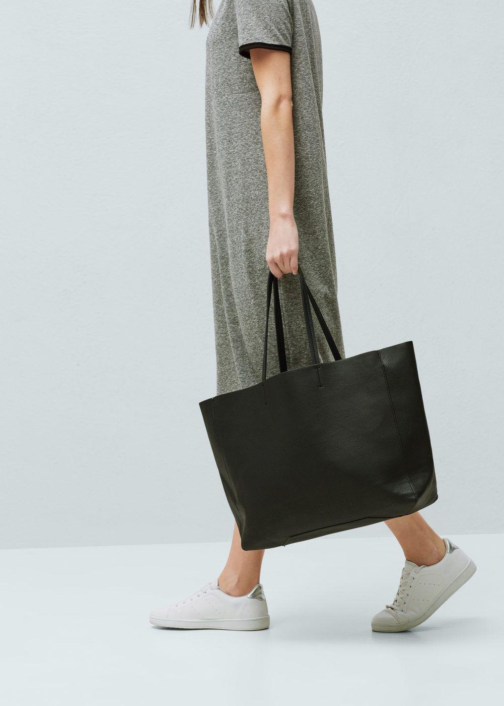 Faux-leather shopper bag   MANGO