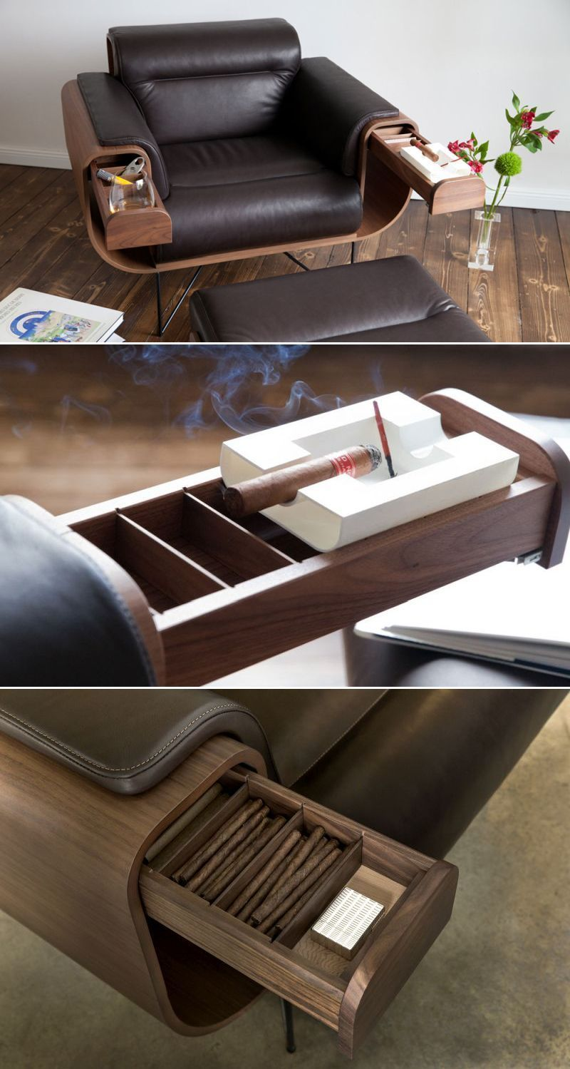 Photo of El Purista Smokers Armchair Holds Cigar and Whiskey Glasses – Best Image Portal