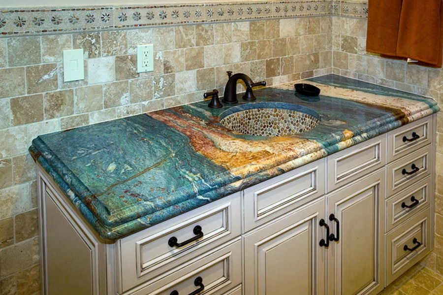 Decorative Unique Granite Bathroom Countertops Color Ideas