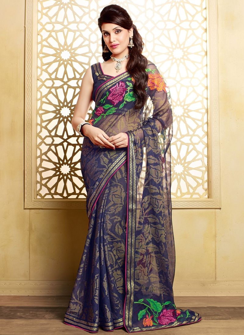 http://www.sareesaga.com/index.php?route=product/product&product_id=17077  Style:Designer Saree Shipping Time:10 to 12 Days Occasion:Party Festival Reception Fabric:Faux Chiffon Brasso Colour:Blue Work:Patch Border Work  For Inquiry Or Any Query Related To Product, Contact :- +91 9825192886