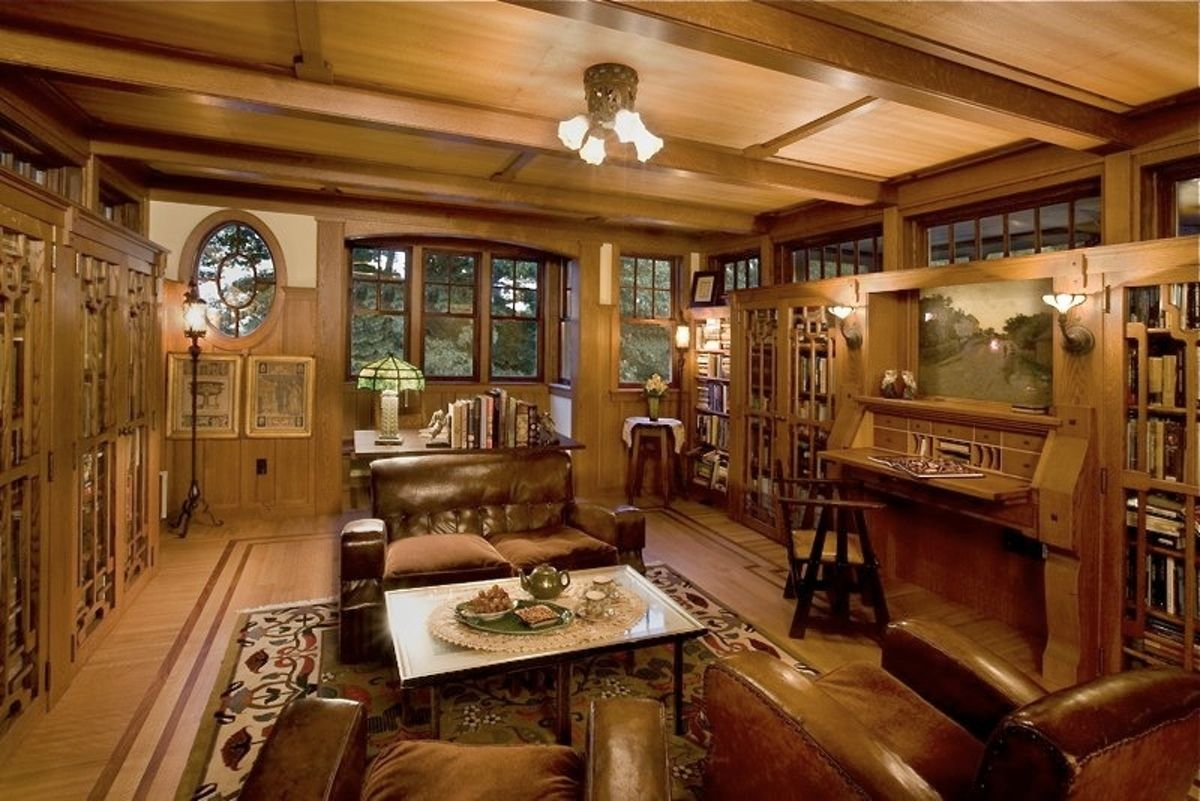 Arts and crafts trim arts crafts style library farm for Craftsman house interior