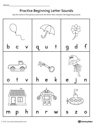Practice Beginning Letter Sound Worksheet Phonics Kindergarten Preschool Phonics Kindergarten Phonics Worksheets