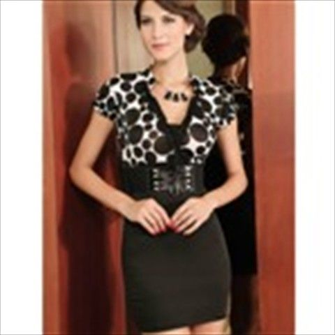 Fashionable Black Spots Pattern V-neck Tight Dress with Belt SGD 41.17 (Free  Shipping Worldwide) fe2694bb5f30