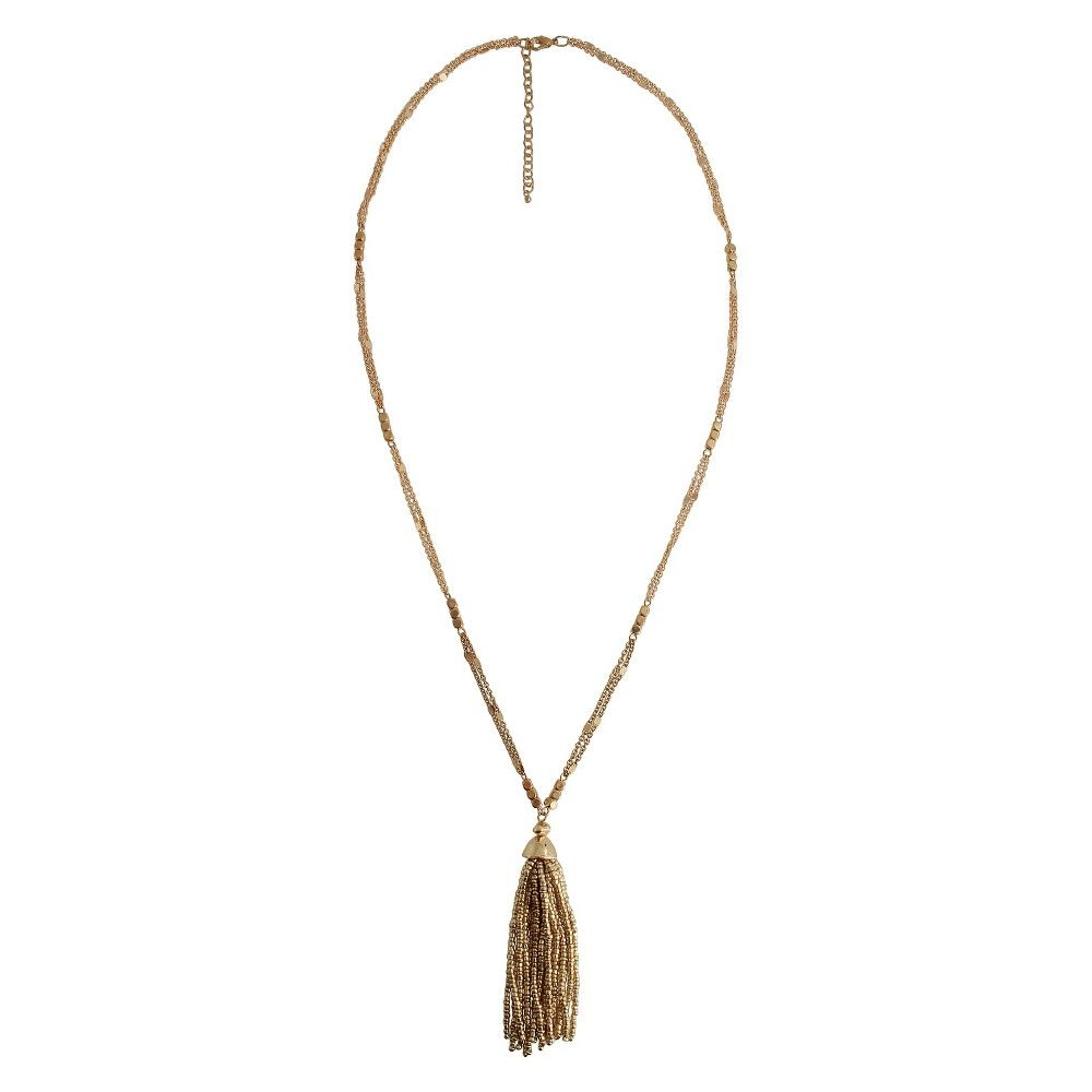 Women's Fashion Long Necklace with Beads and Tassel - Gold (32)