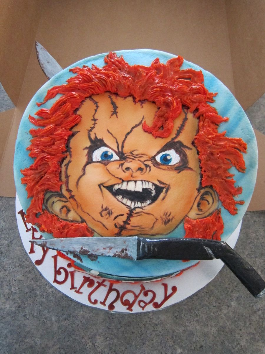 Chucky Birthday Buttercream Frosted Airbrushed Face Color And Hand